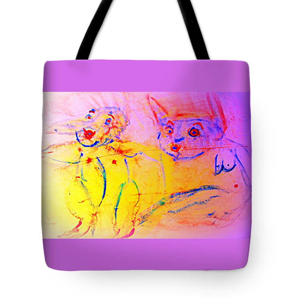 Couple Tote Bag featuring the painting A Long Time Ago We Were So Incredibly Happy Together by Hilde Widerberg