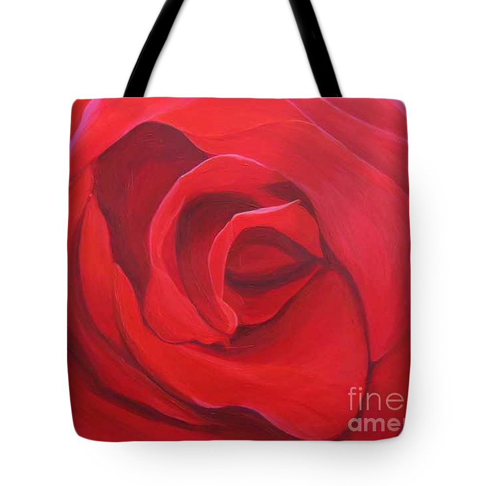 Rose In The Italian Countryside Tote Bag featuring the painting So Red The Rose by Hunter Jay