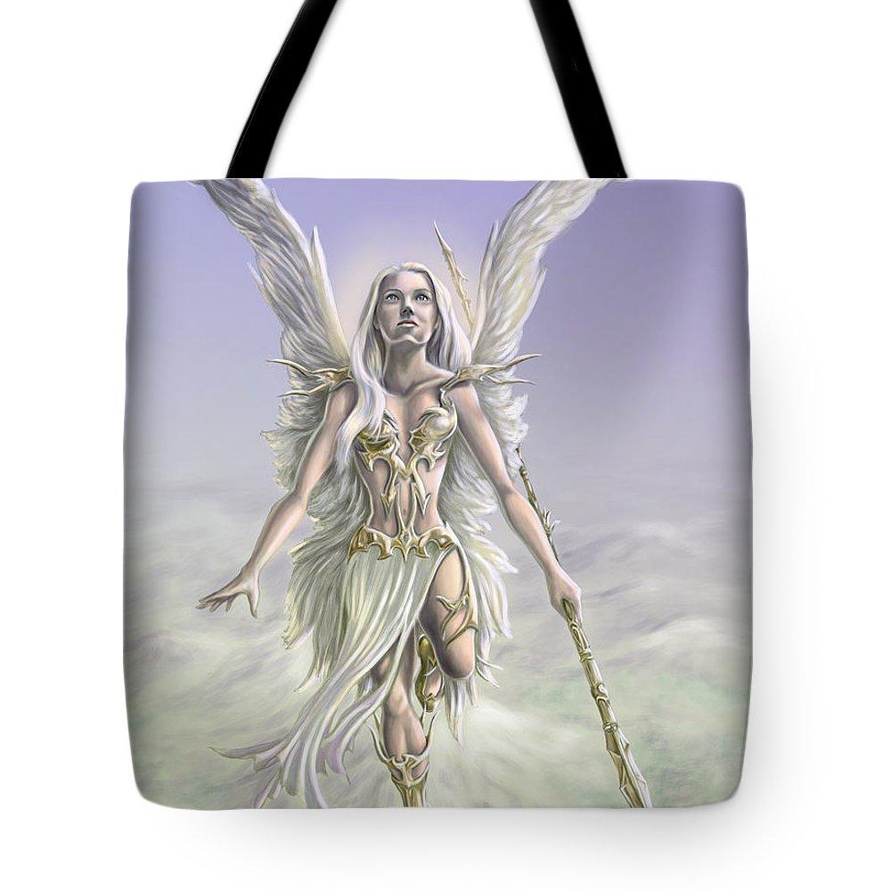 Angel Tote Bag featuring the digital art Soaring Angel by Rob Carlos