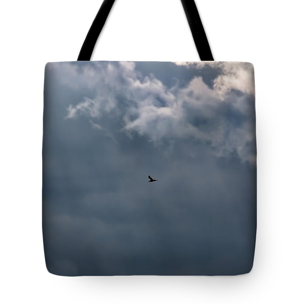 Soaring Gull.bird Flying In A Cloudy Sky Tote Bag featuring the photograph Soaring Gull - Bird Flying In A Cloudy Sky by Leif Sohlman