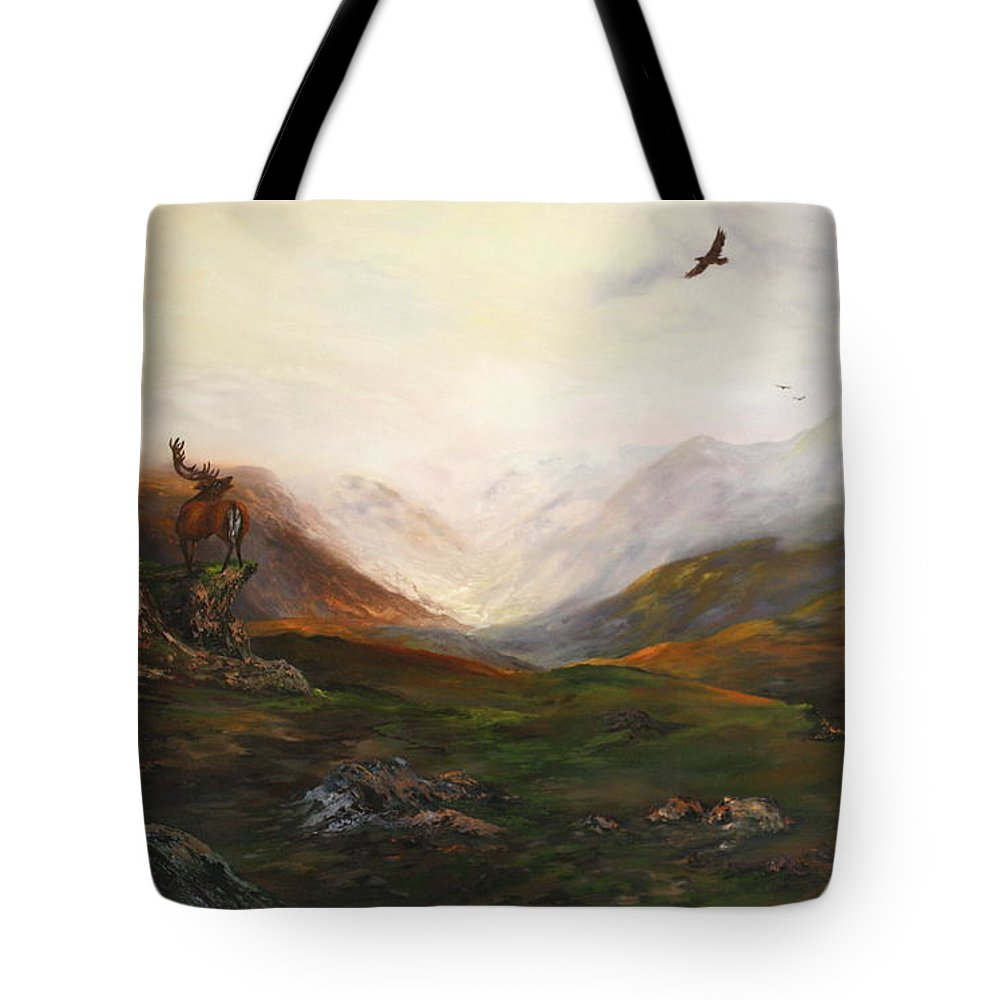 Scotish Highlands Tote Bag featuring the painting Soaring High by Jean Walker