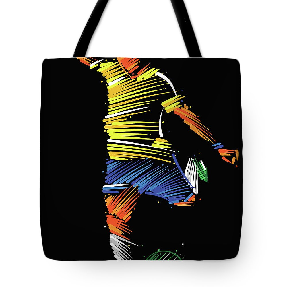 Goal Tote Bag featuring the digital art Soccer Player Running To Kick The Ball by Dimitrius Ramos