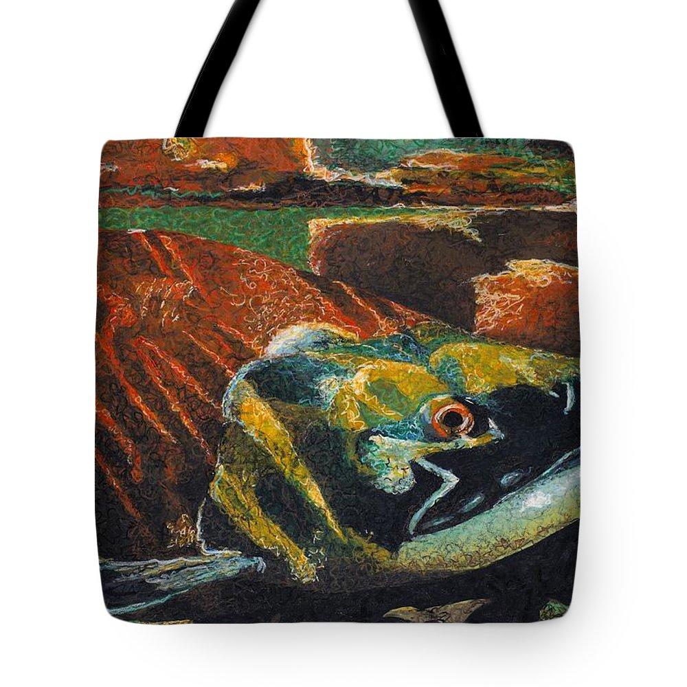 Wildlife Tote Bag featuring the painting Sockeye by C Ryan Pierce