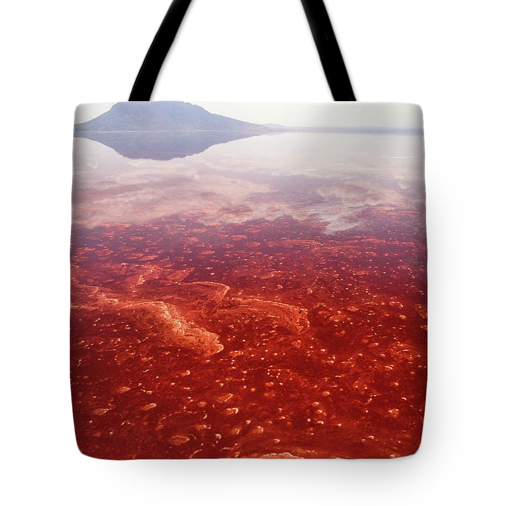 Alkaline Lake Tote Bag featuring the photograph Soda And Algae Formation On Lake Natron by Gerry Ellis