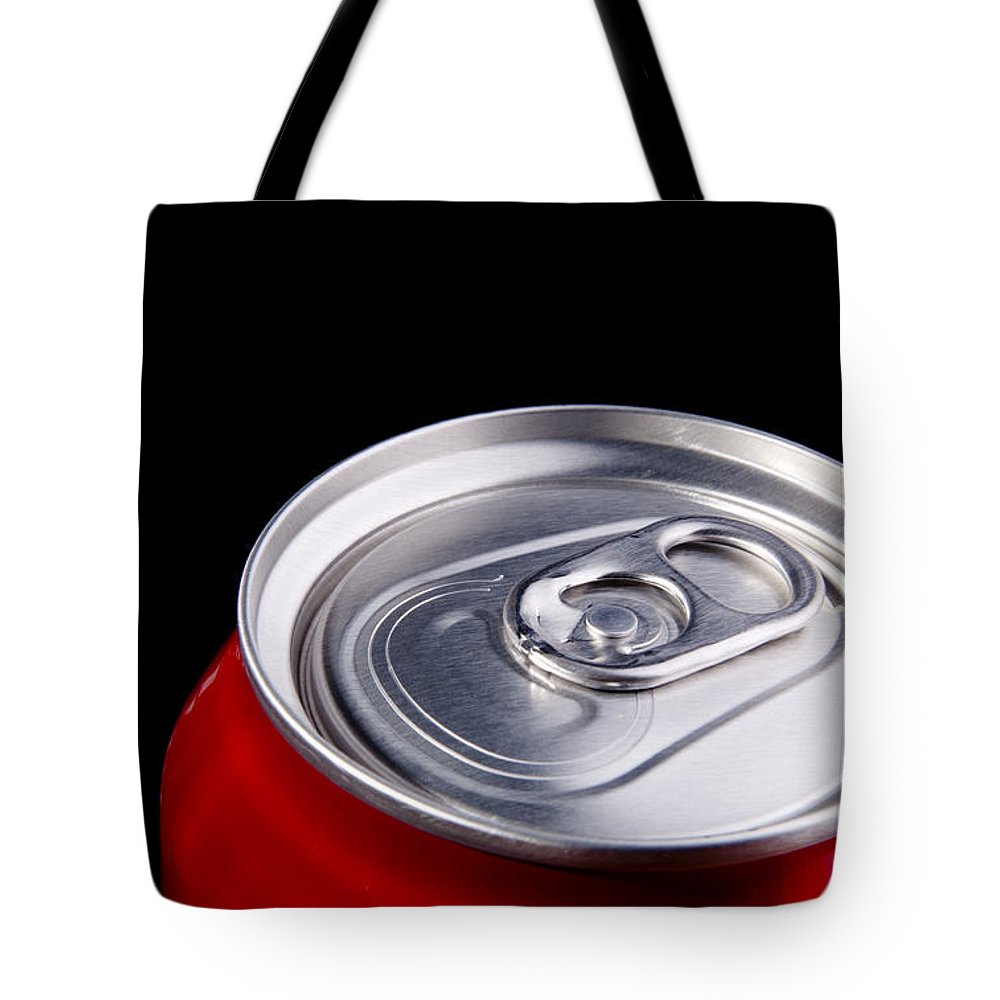 Alcohol Tote Bag featuring the photograph Soda Can by Tim Hester