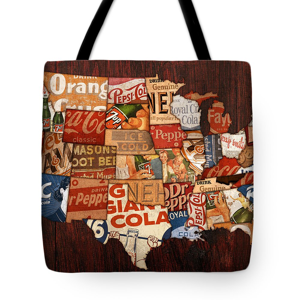 Soda Pop America Wrapper Vintage Pepsi Coke Coca Cola 7up Mountain Dew Root Beer Orange Crush Nehi Dr Pepper Drink Beverage Thirsty Usa Map Country Rc Bottle Can Box History Faygo Drink Ice Cold Carbonated Tote Bag featuring the mixed media Soda Pop America by Design Turnpike
