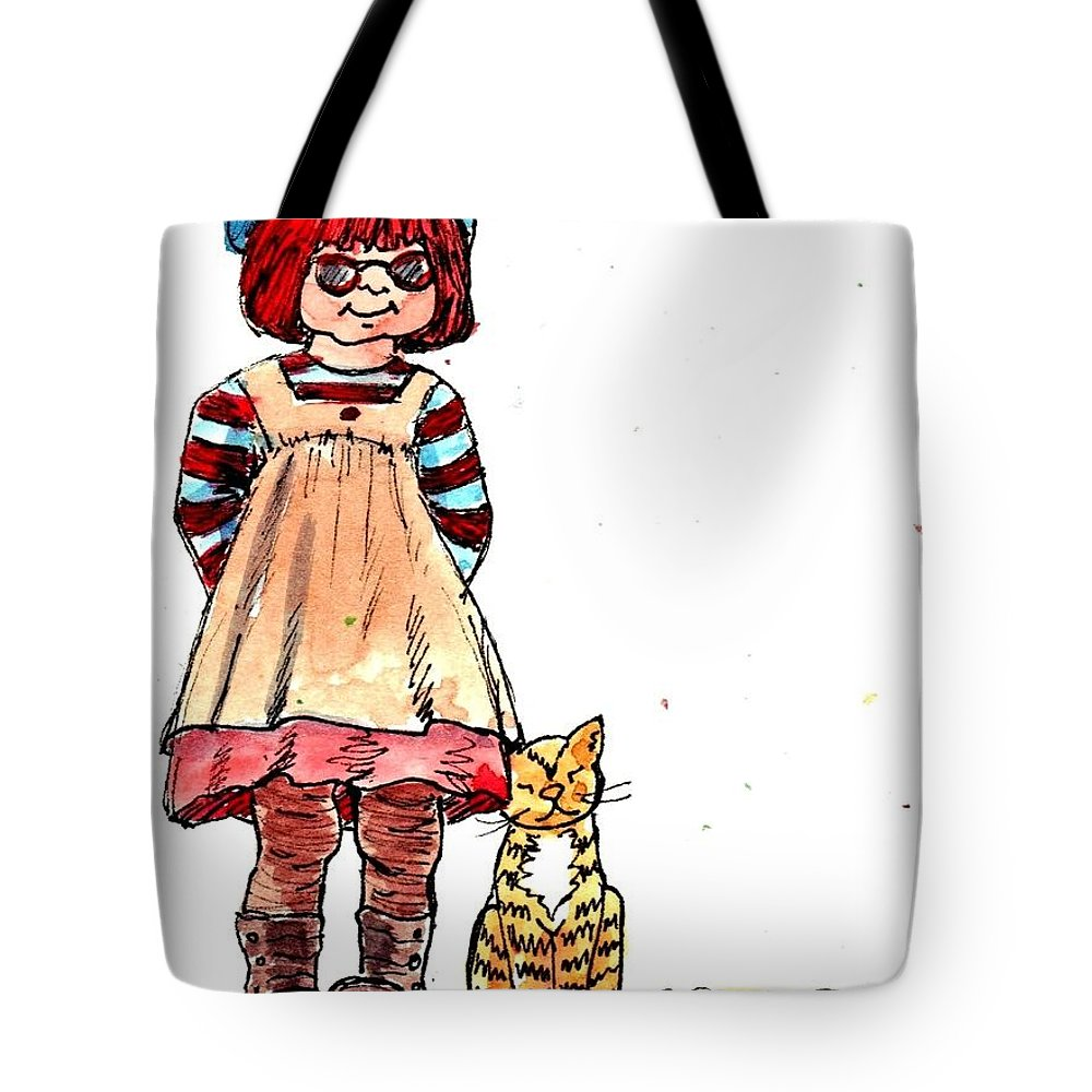 Red Haired Girl Tote Bag featuring the drawing Sofie by Marilyn Smith