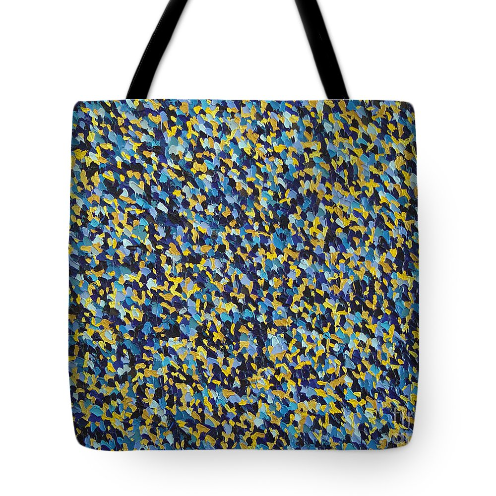 Abstract Tote Bag featuring the painting Soft Blue With Yellow by Dean Triolo