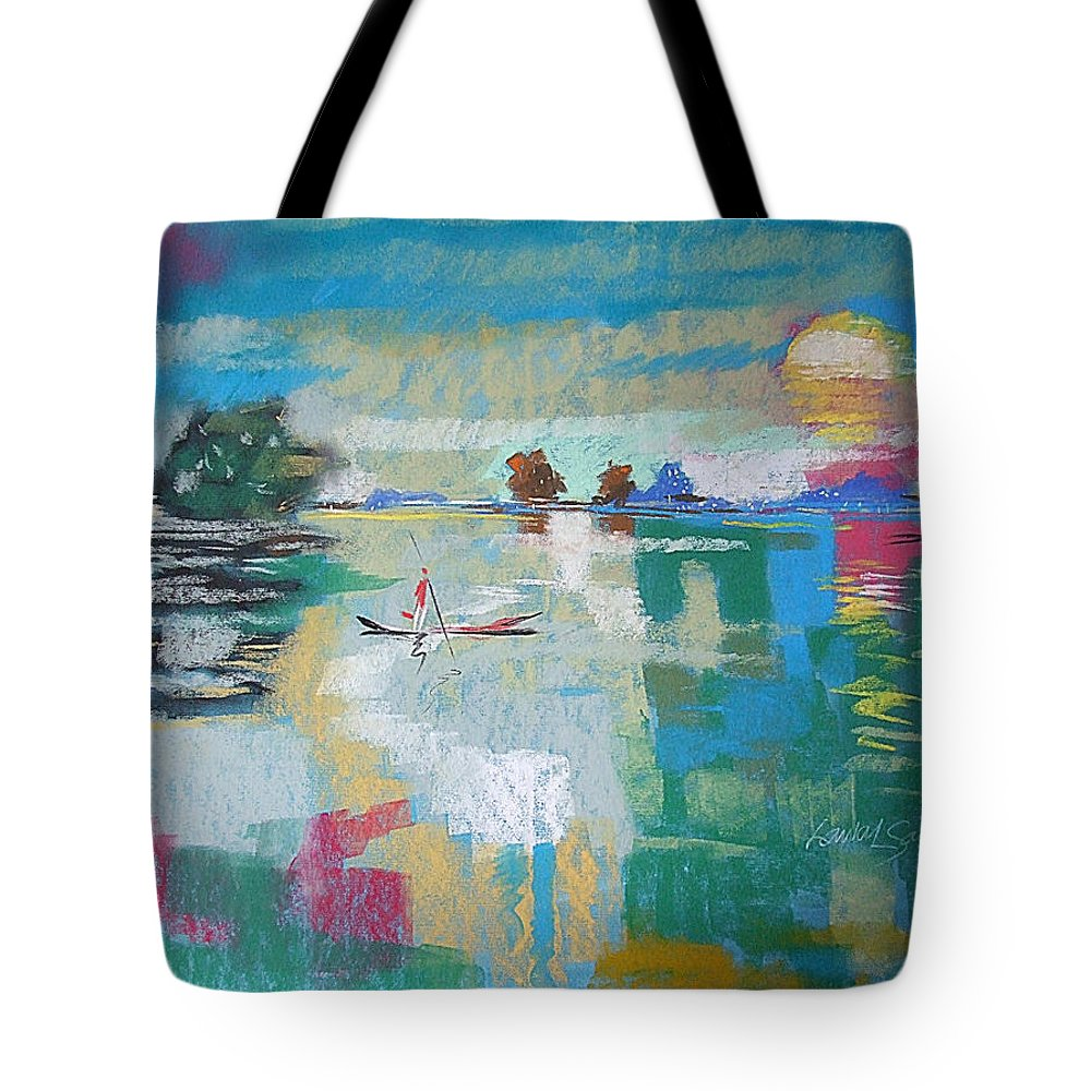 Lagoon Tote Bag featuring the painting Soft Evening Glow by Said Oladejo-lawal