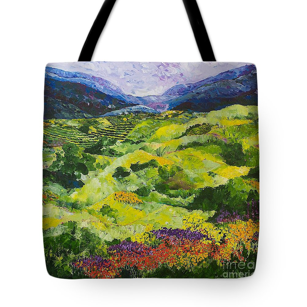 Landscape Tote Bag featuring the painting Soft Grass by Allan P Friedlander