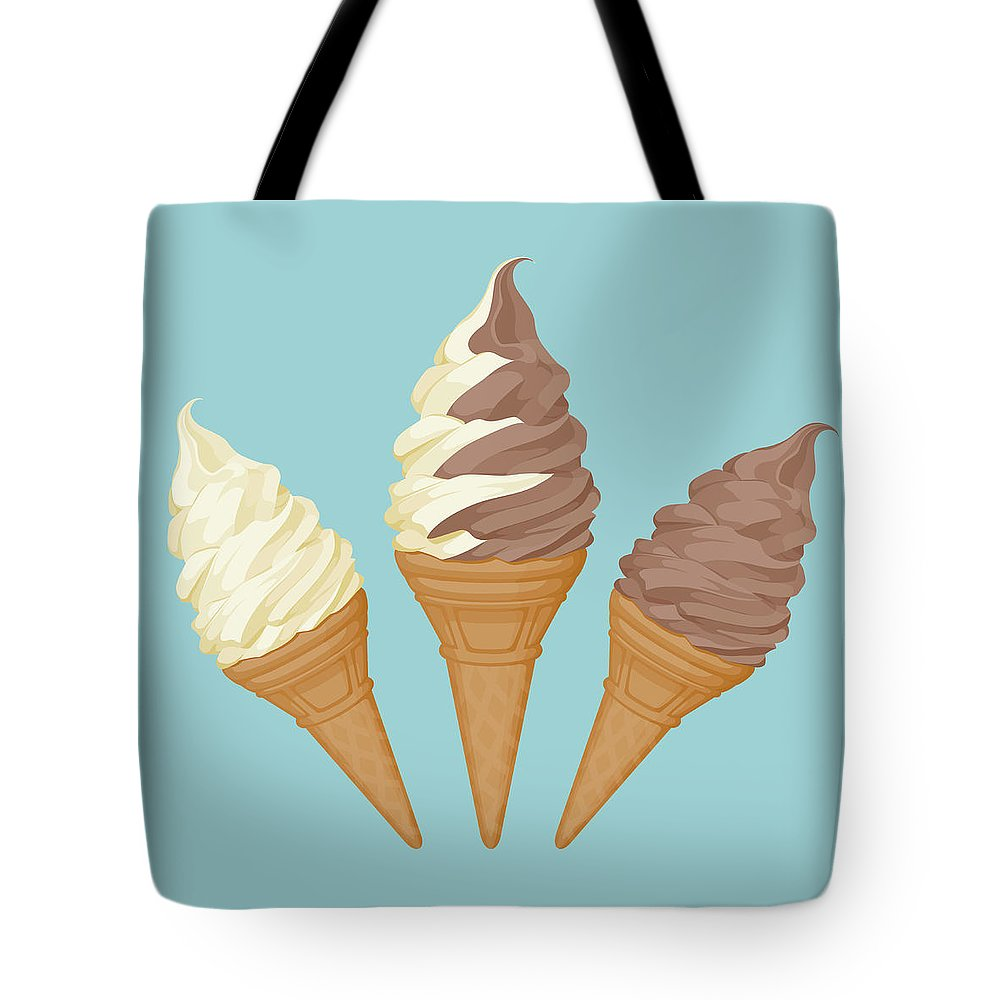 Vanilla Tote Bag featuring the digital art Soft Ice Cream Cone by Saemilee