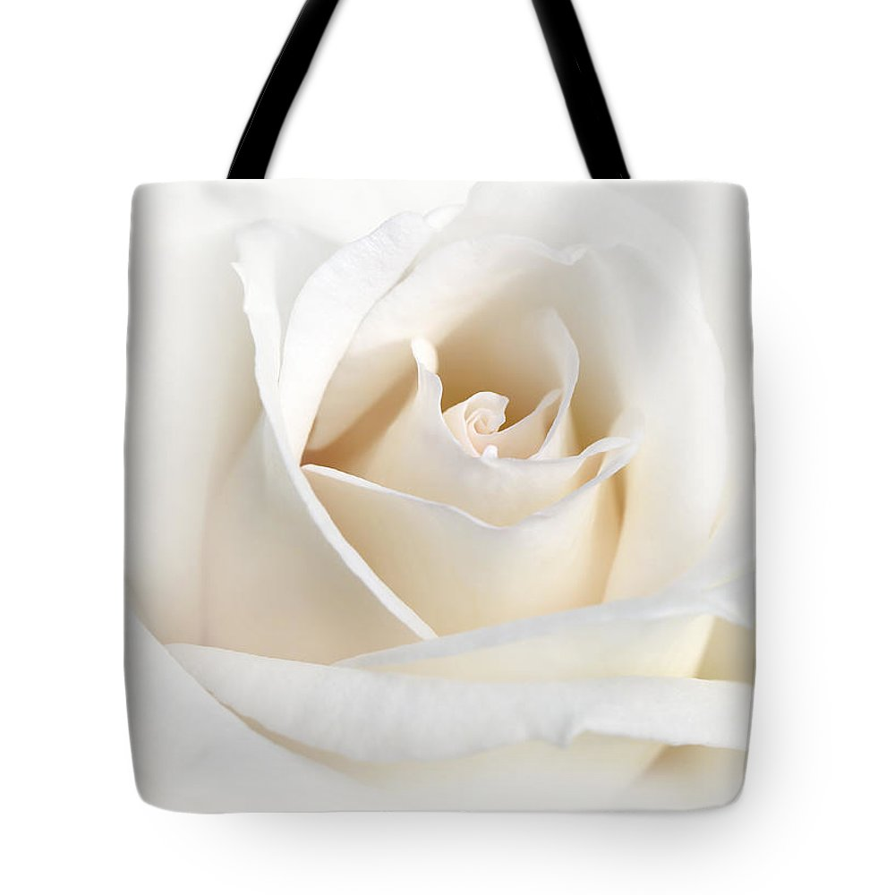 Rose Tote Bag featuring the photograph Soft Ivory Rose Flower by Jennie Marie Schell
