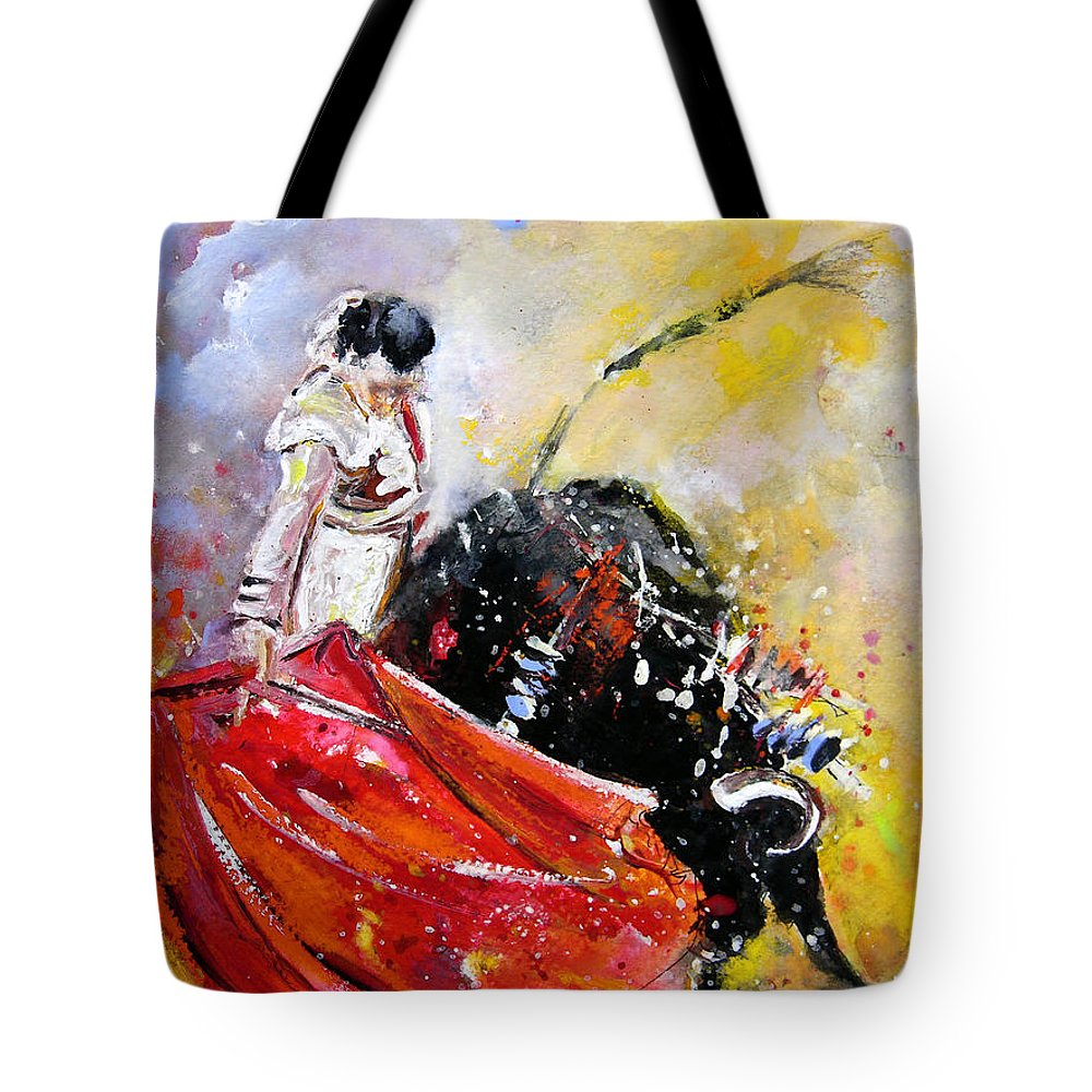 Bullfight Tote Bag featuring the painting Softly And Gently by Miki De Goodaboom