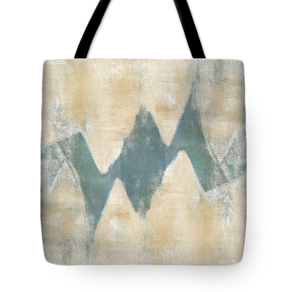 Monoprint Tote Bag featuring the mixed media Softly Green 2 by Carol Leigh
