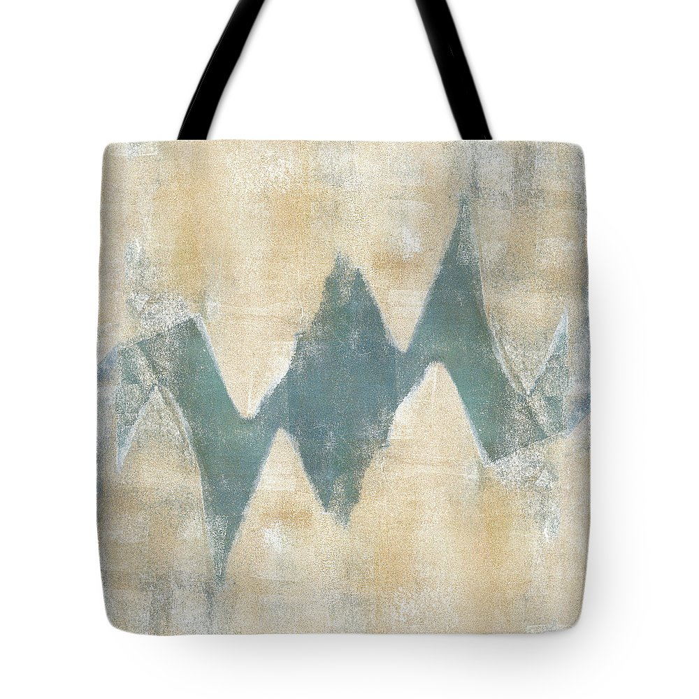 Monoprint Tote Bag featuring the mixed media Softly Green 2 Square by Carol Leigh