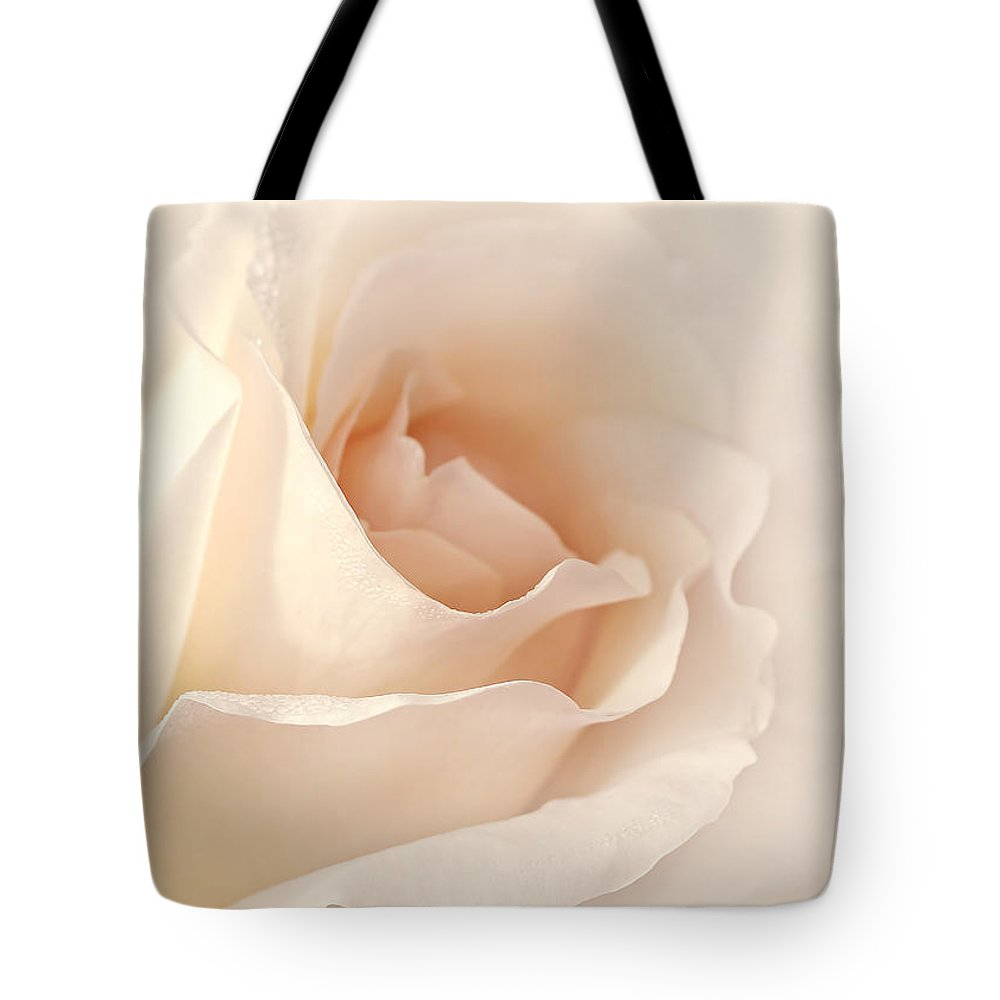 Rose Tote Bag featuring the photograph Softness Of A Peach Rose Flower by Jennie Marie Schell