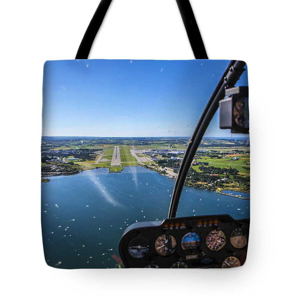 Water's Edge Tote Bag featuring the photograph Sola And Sola Airport, Aerial Shot by Sindre Ellingsen