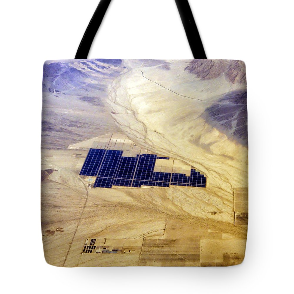 Solar Panels Tote Bag featuring the photograph Solar Panels Aerial View by Thomas Woolworth