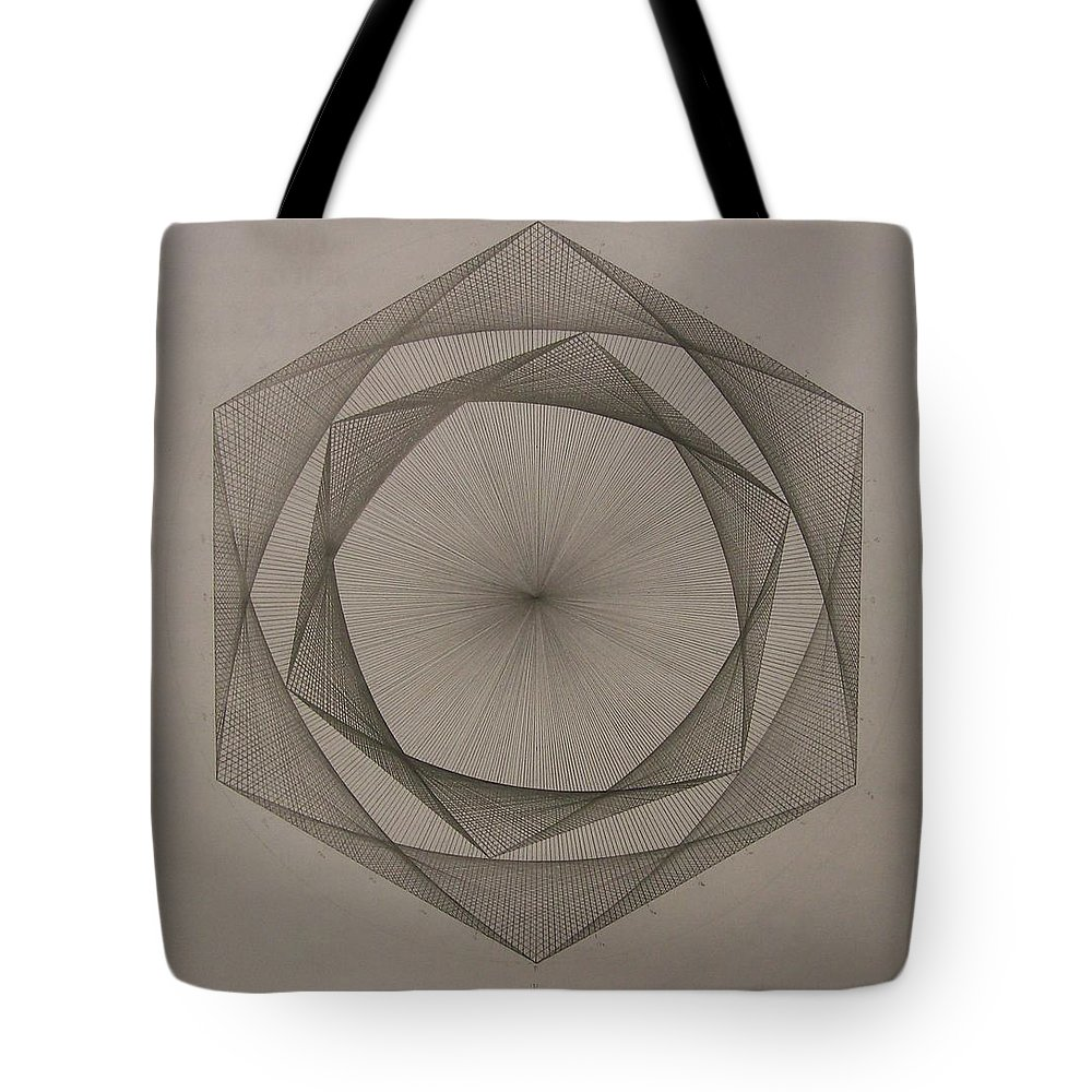 Fractal Tote Bag featuring the drawing Solar Spiraling by Jason Padgett