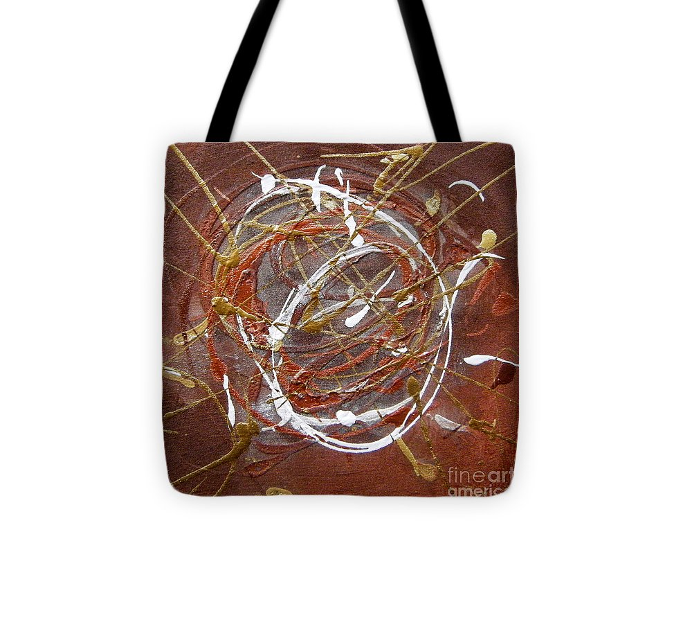 Bronze Tote Bag featuring the painting Solaris One by Holly Picano