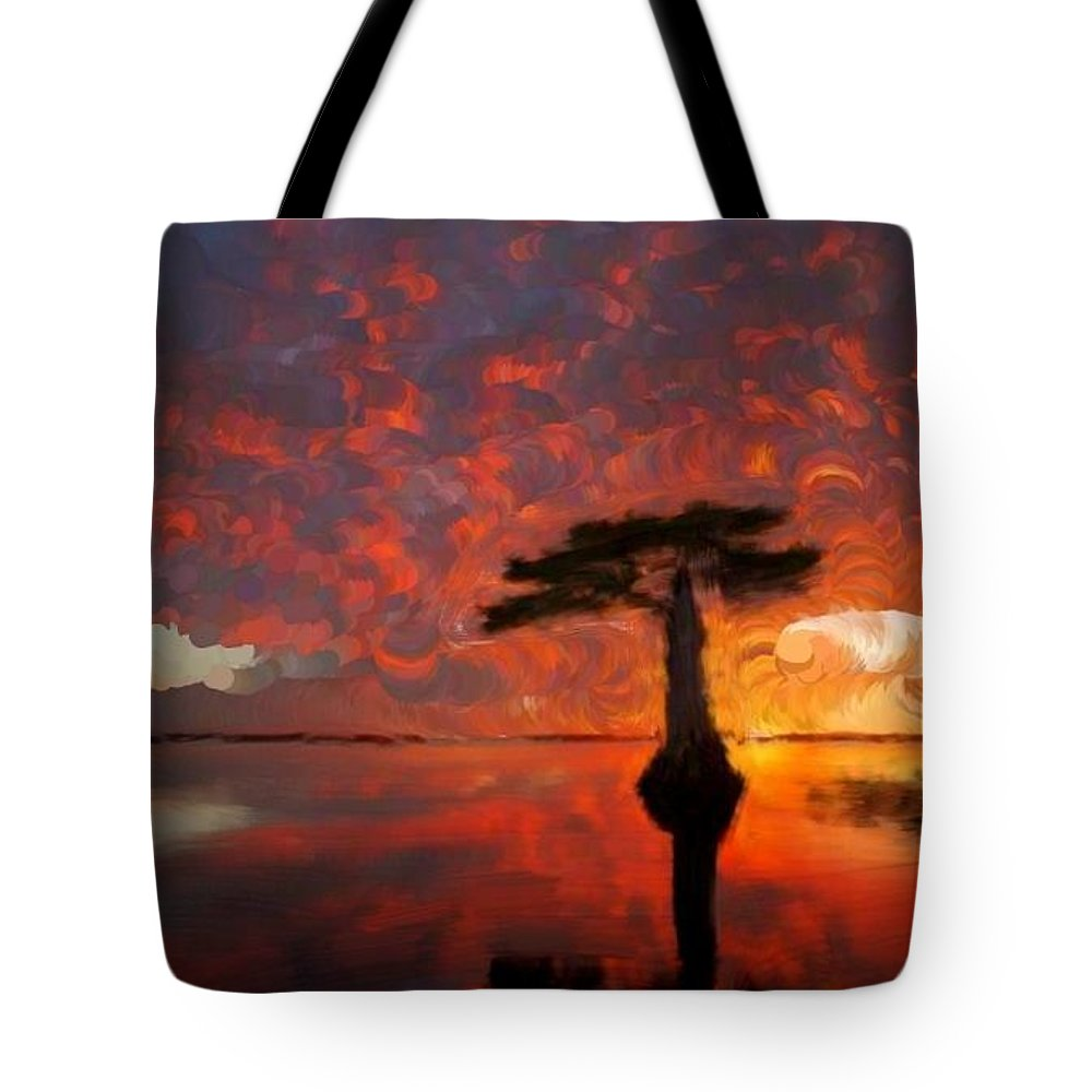 Tree Tote Bag featuring the painting Sole Palm Tree At Sunset by Bruce Nutting