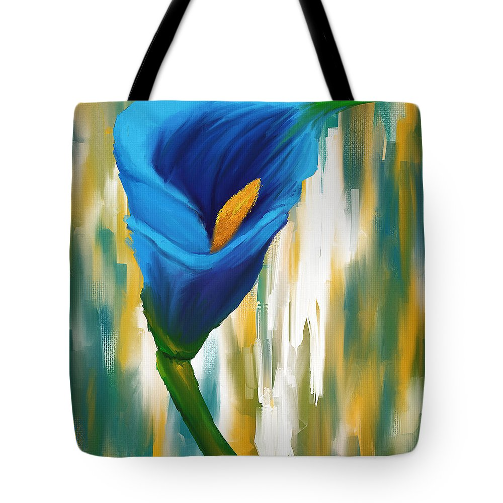 Blue Calla Lily Tote Bag featuring the digital art Solitary Blue by Lourry Legarde