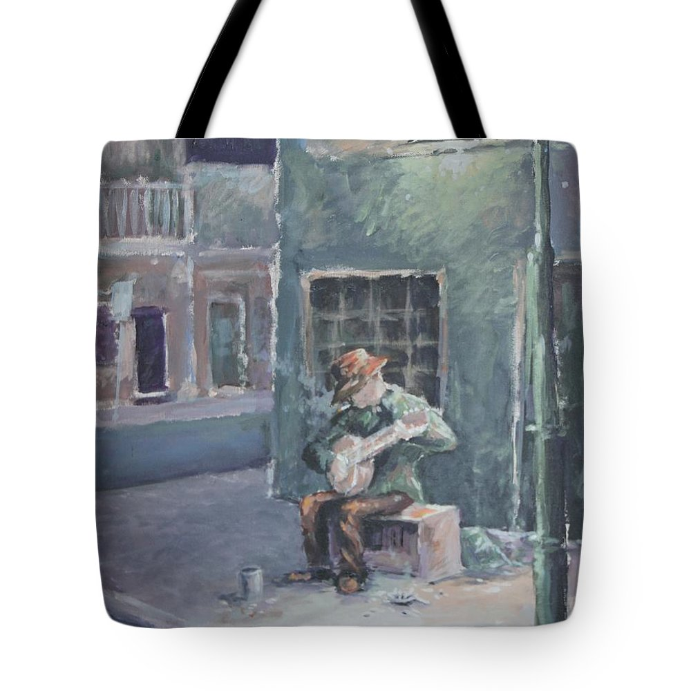 Streelight Tote Bag featuring the painting Solo By Streetlight by Benjamin DeHart