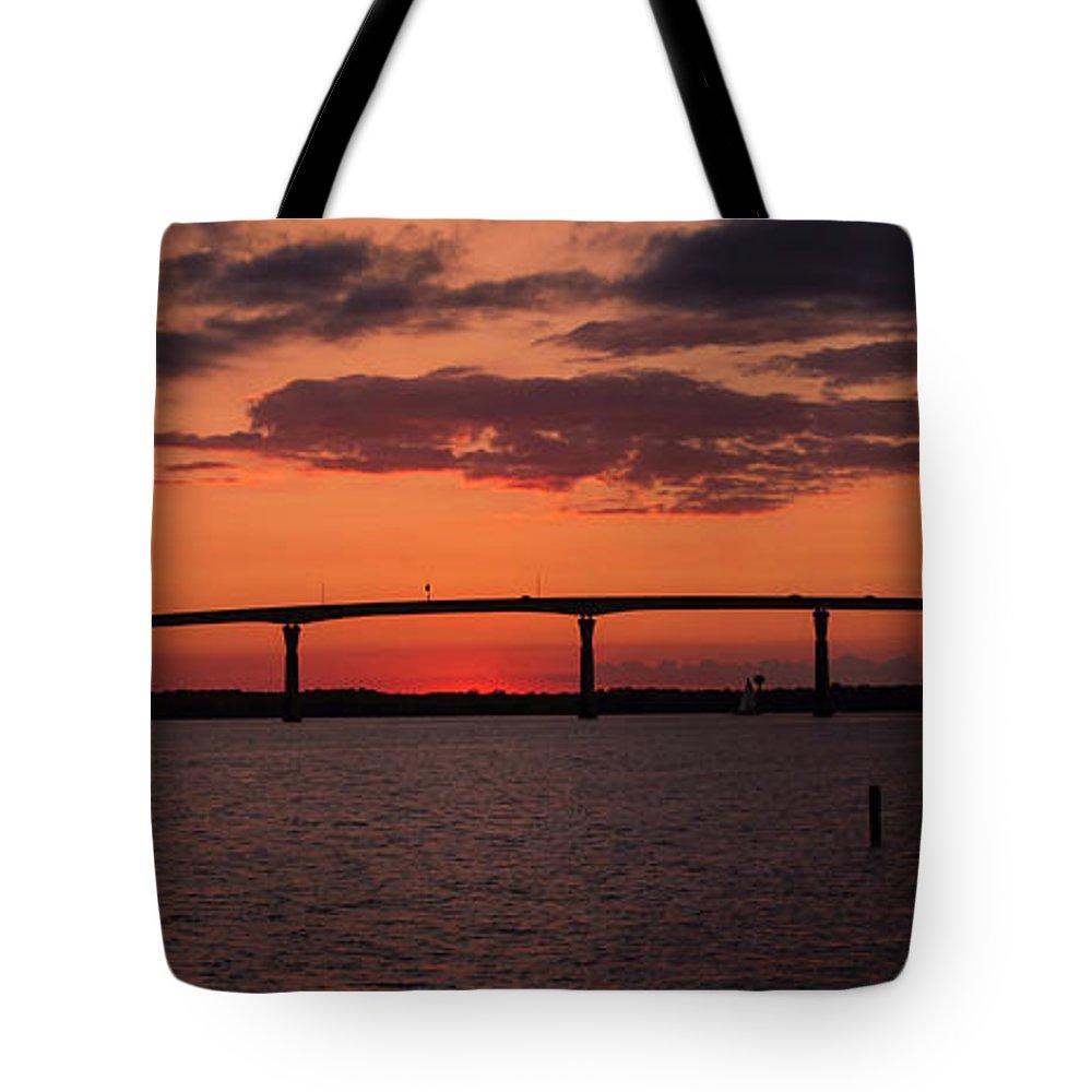 Solomon's Island Bridge Tote Bag featuring the photograph Solomon Bridge by Sharon Horn