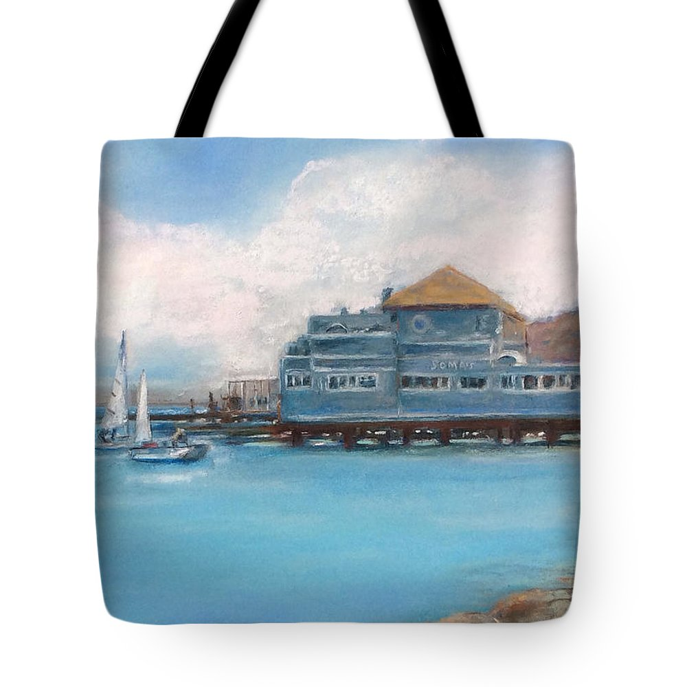 Sausalito Tote Bag featuring the painting Soma's Restaurant by Hilda Vandergriff