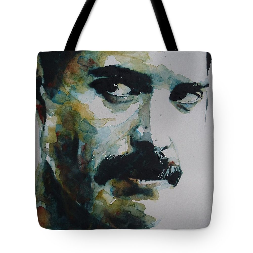 Queen Tote Bag featuring the painting Freddie Mercury by Paul Lovering