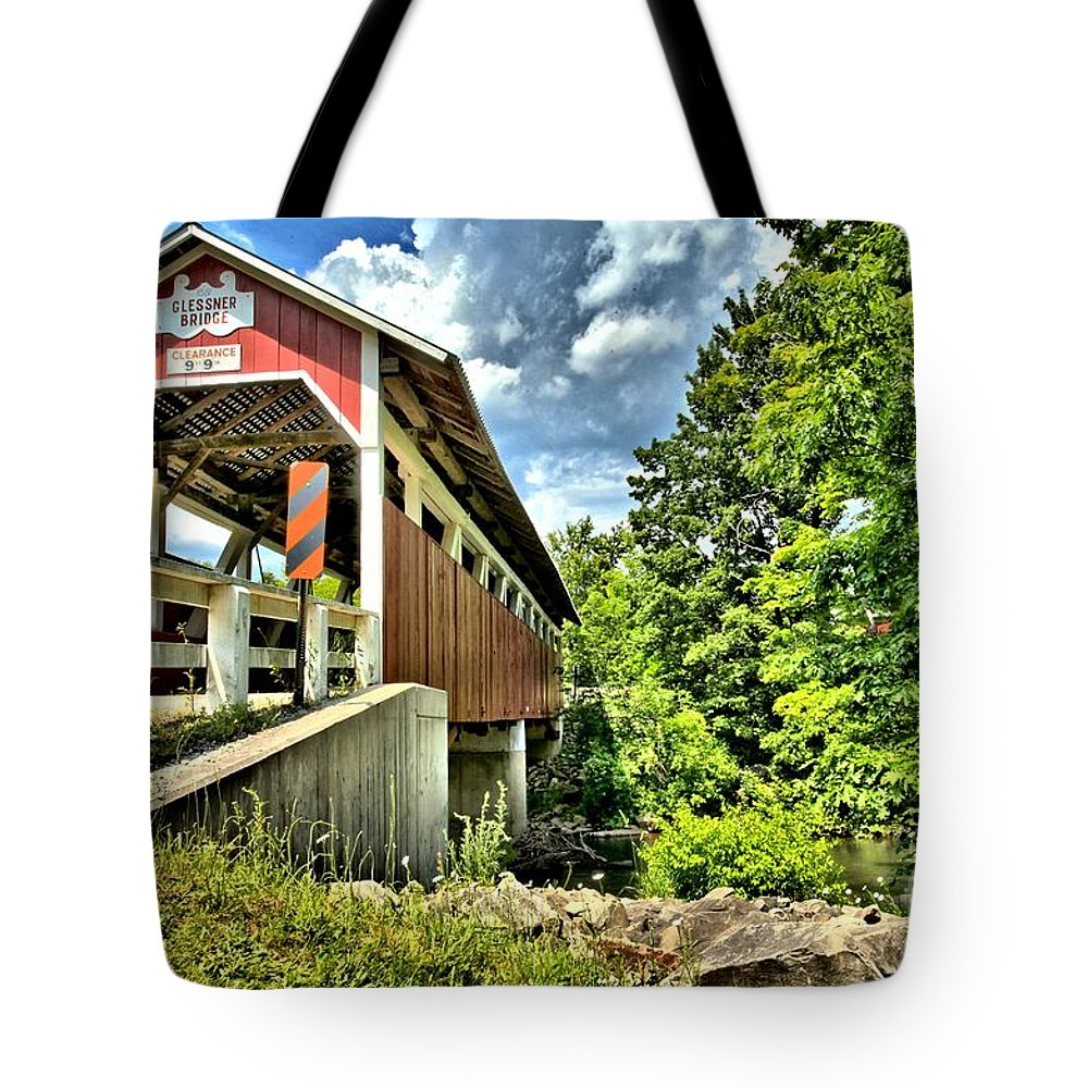 Covered Bridge Tote Bag featuring the photograph Somerset Glessner Bridge by Adam Jewell