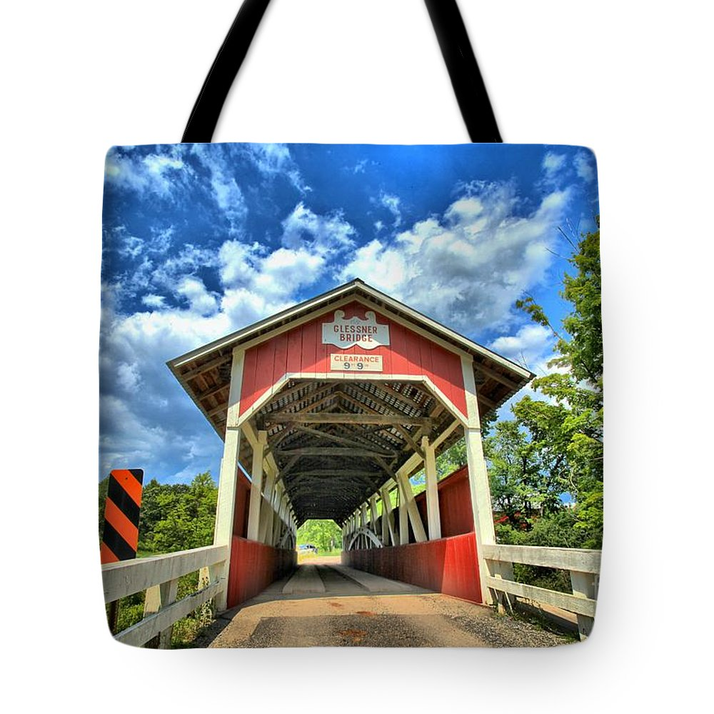 Covered Bridge Tote Bag featuring the photograph Somerset Pa Glessner Bridge by Adam Jewell