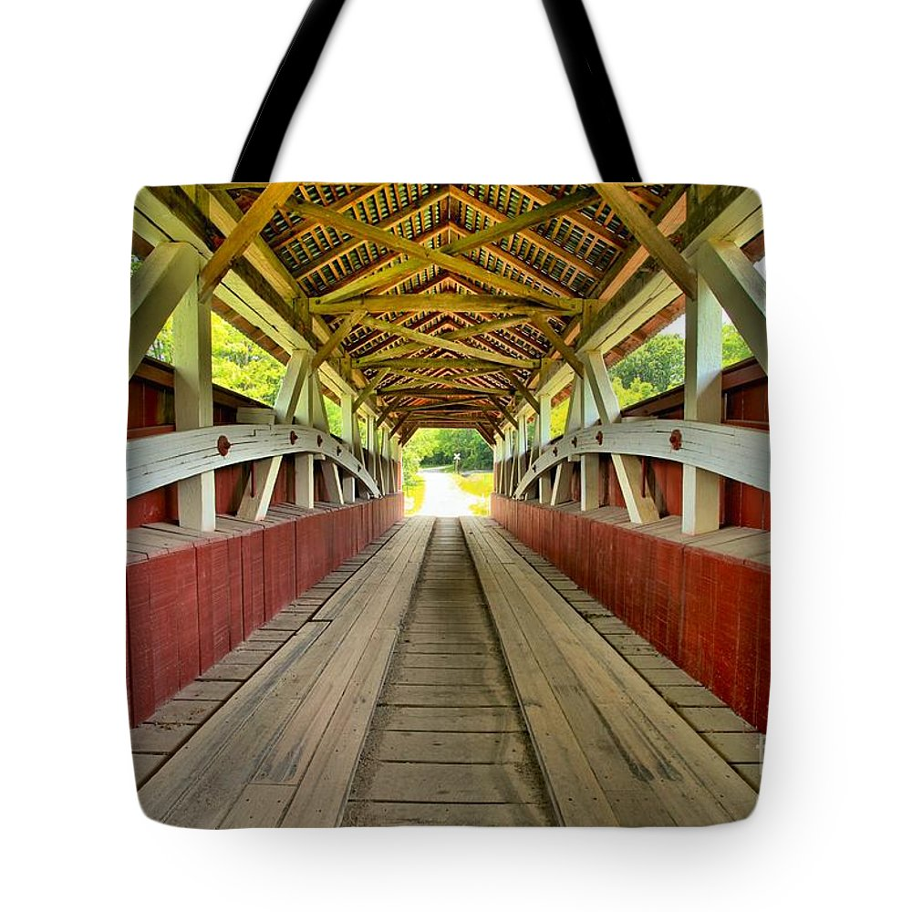 Covered Bridge Tote Bag featuring the photograph Somerset Wooden Roads by Adam Jewell