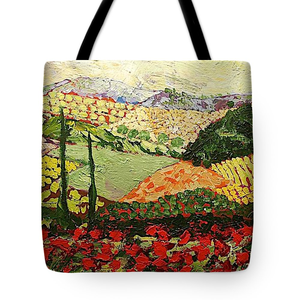 Landscape Tote Bag featuring the painting Something Red by Allan P Friedlander