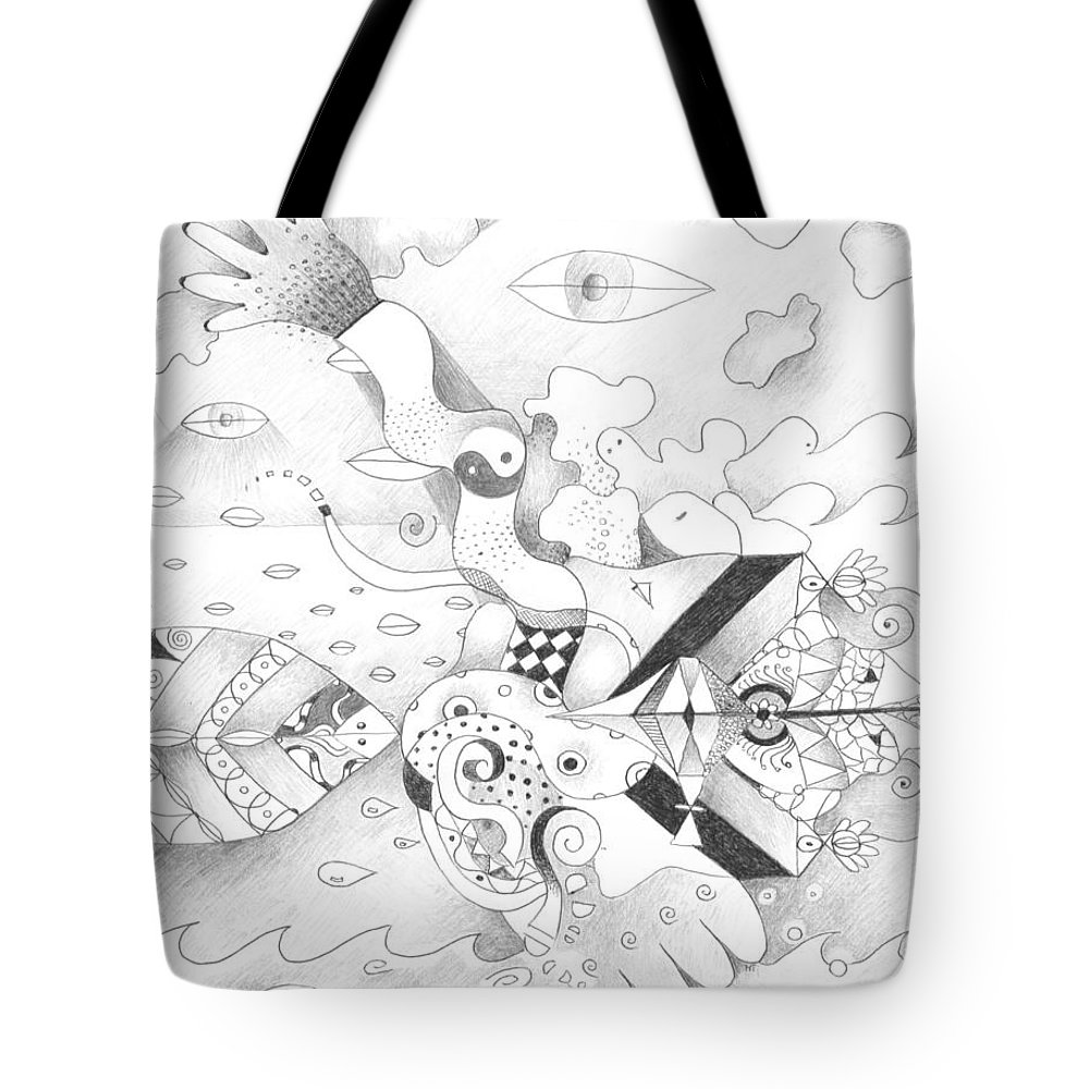 Love Tote Bag featuring the drawing Sometimes Sideways by Helena Tiainen