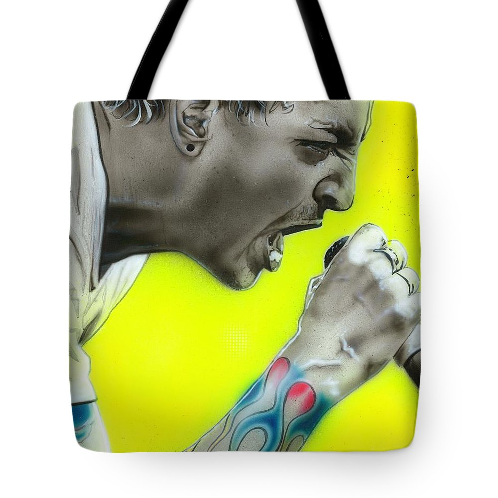 Chester Bennington Tote Bag featuring the painting Somewhere I Belong by Christian Chapman Art