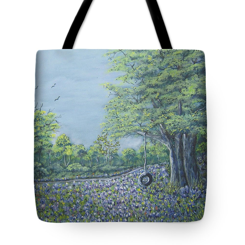 Texas Art Tote Bag featuring the painting Somewhere In Texas by Suzanne Theis
