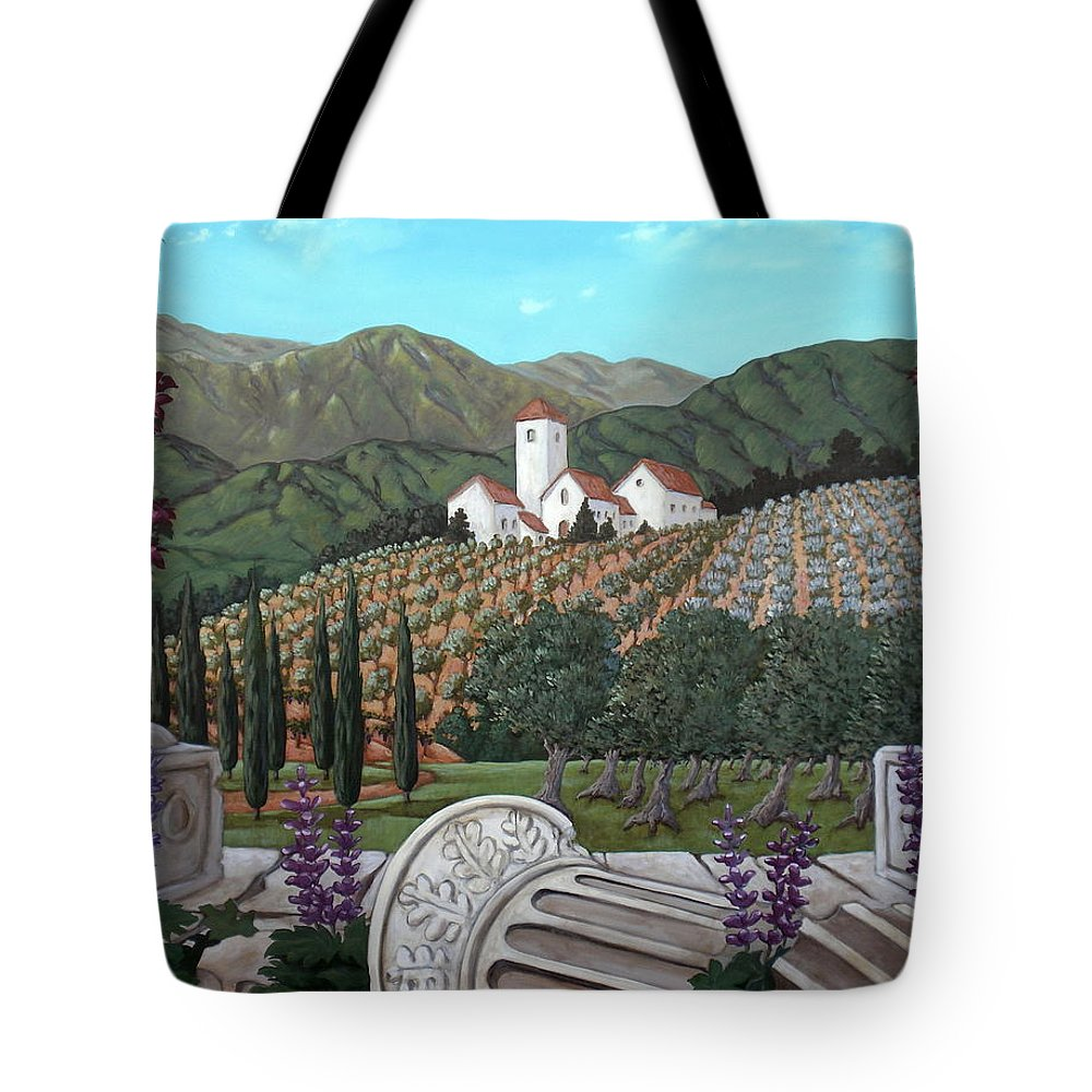 Italian Landscape Tote Bag featuring the painting Somewhere In Tuscany by Gerry High