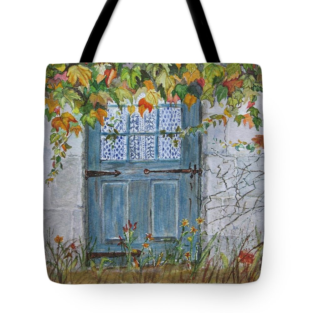 Autumn Leaves Tote Bag featuring the painting Somewhere by Mary Ellen Mueller Legault