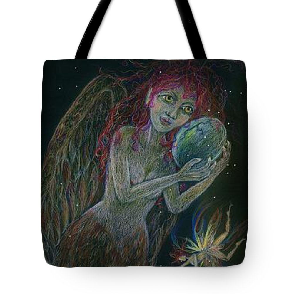 Harpy Tote Bag featuring the drawing Song Of The Harpy Hen by Dawn Fairies