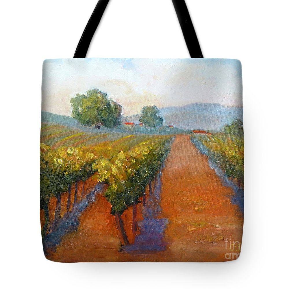 Vineyards Tote Bag featuring the painting Sonoma Vineyard by Carolyn Jarvis