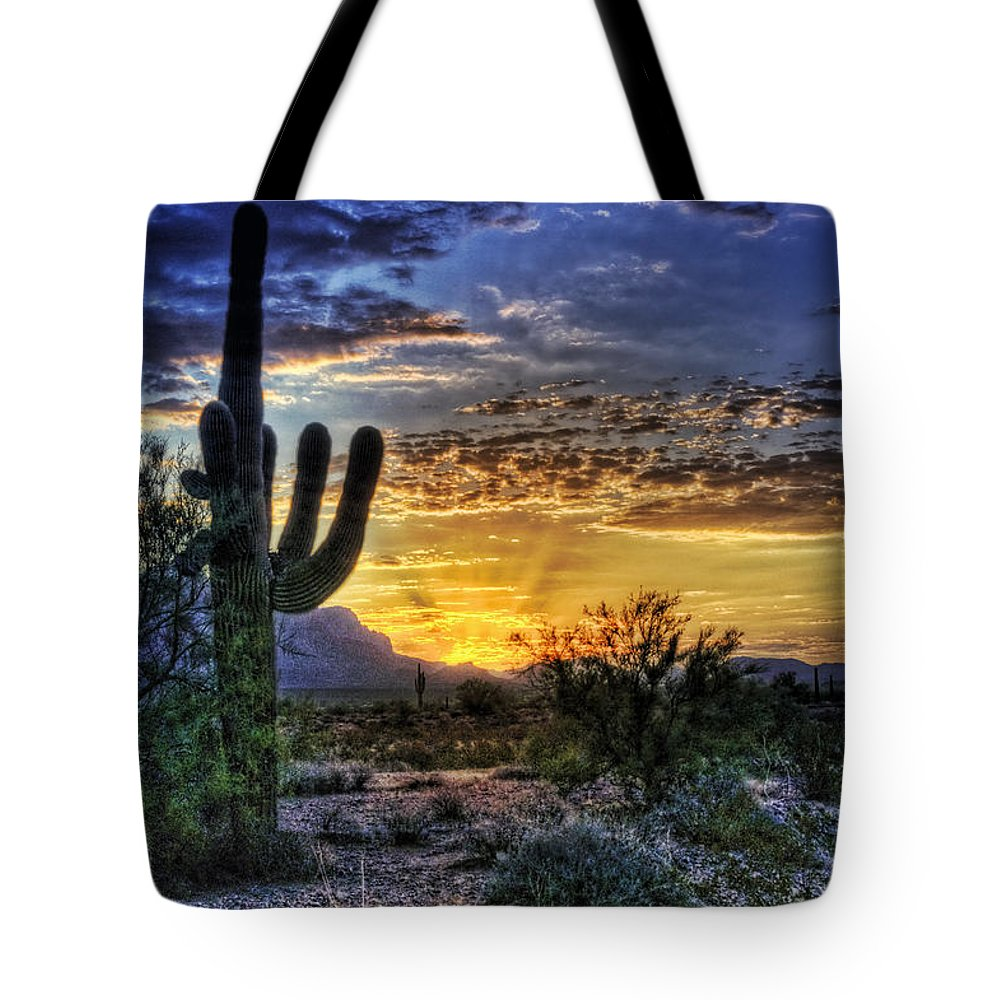 Sonoran Desert Tote Bag featuring the photograph Sonoran Sunrise by Saija Lehtonen