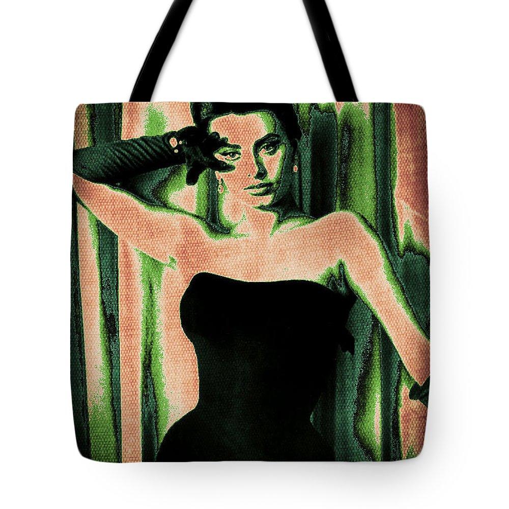 Sophia Loren Tote Bag featuring the digital art Sophia Loren - Green Pop Art by Absinthe Art By Michelle LeAnn Scott