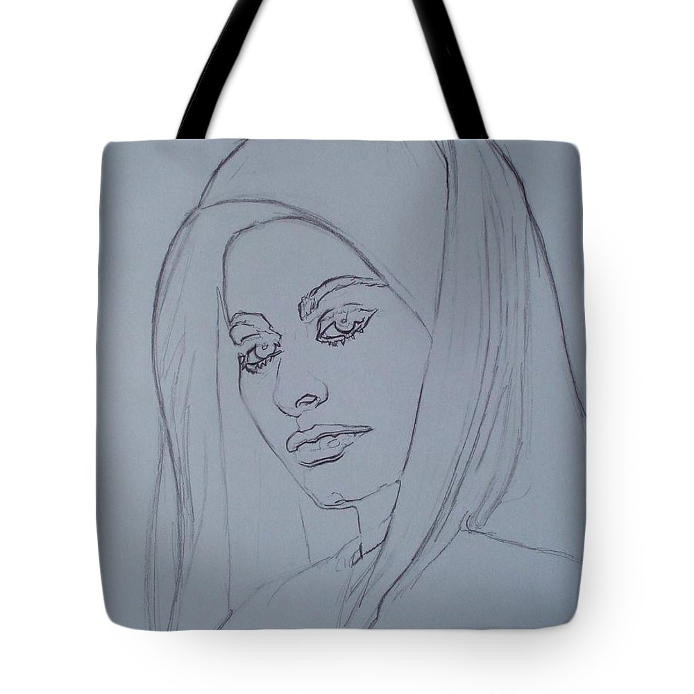 Woman Tote Bag featuring the drawing Sophia Loren In Headdress by Sean Connolly