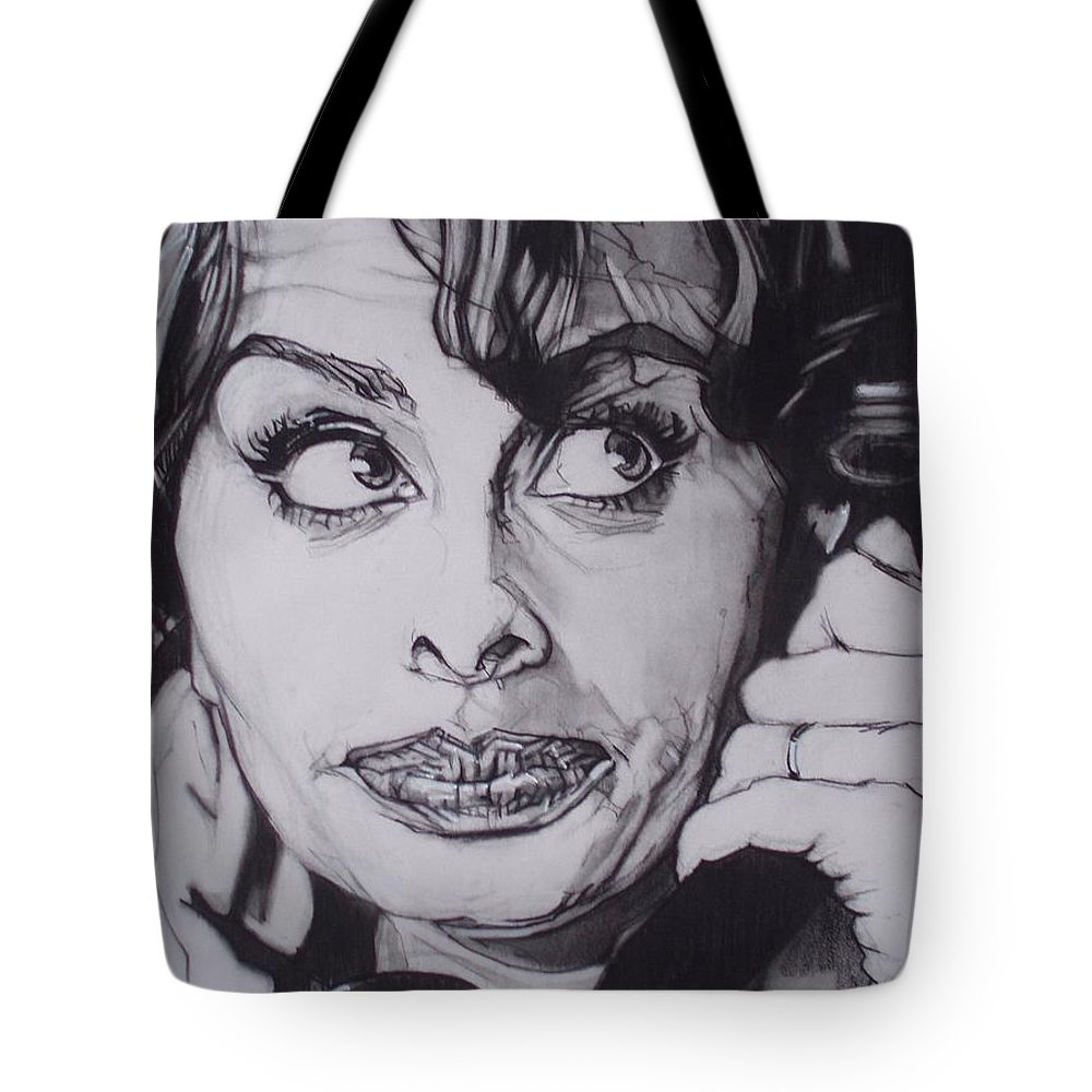 Charcoal;icon;actress;diva;italian;cat Eyes;beautiful;cute;adorable Tote Bag featuring the drawing Sophia Loren Telephones by Sean Connolly