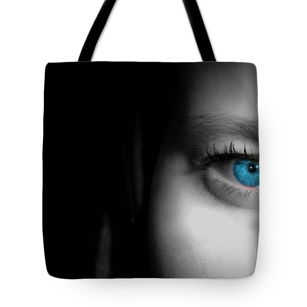 Eye Tote Bag featuring the photograph Sophie Staring by Antony McAulay