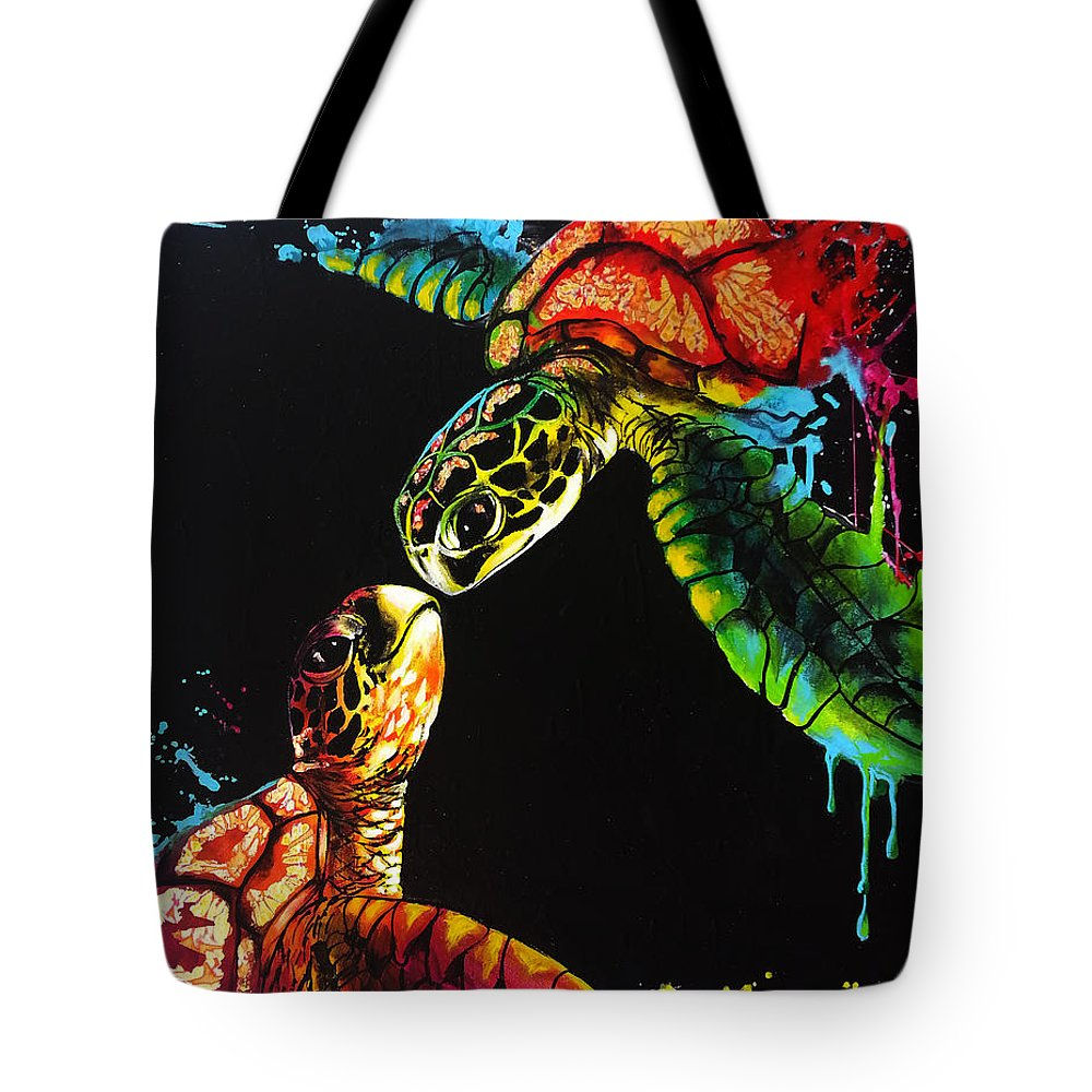 Turtles Tote Bag featuring the painting Soul Mates by Marco Antonio Aguilar