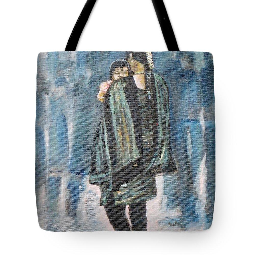 Sound Sleep Tote Bag featuring the painting Sound Sleep by Usha Shantharam