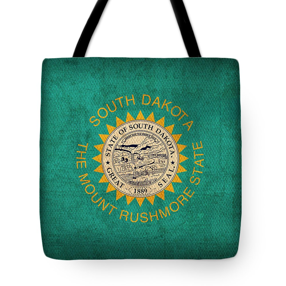 South Tote Bag featuring the mixed media South Dakota State Flag Art On Worn Canvas by Design Turnpike