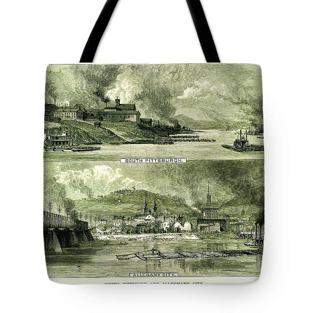 Downtown District Tote Bag featuring the digital art South Pittsburgh And Allegheny City by Nicoolay
